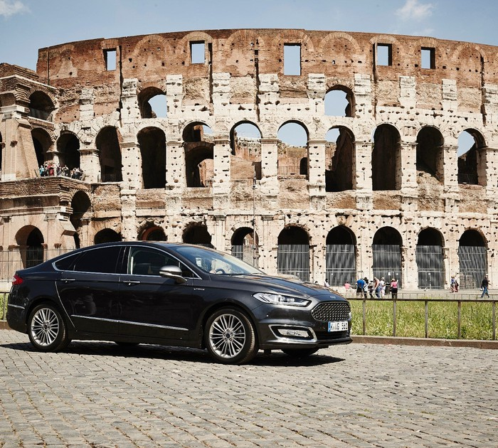 Ford Fusion Vignale with Rome's Colosseum in the background.