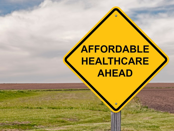 "road sign that says ""affordable healthcare ahead"""