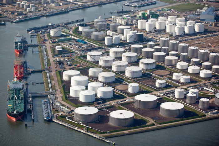 Aerial view of an oil terminal in a harbor.
