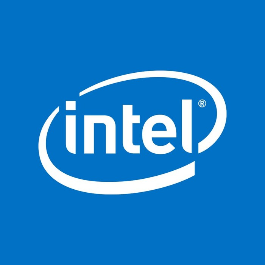 The iconic Intel logo.