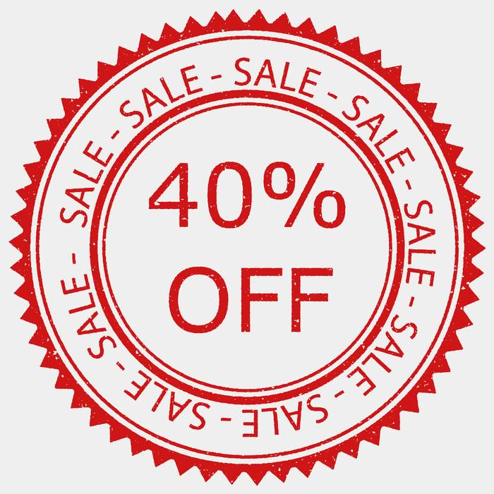 A 40% off sale sign