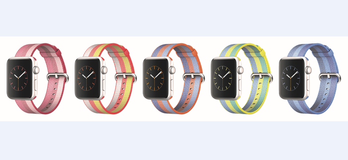 Five Apple watches on display.