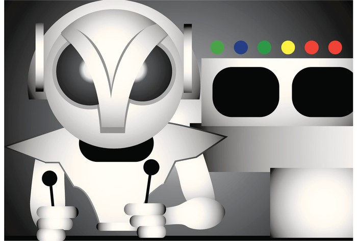 Illustration of a robot at spaceship controls.