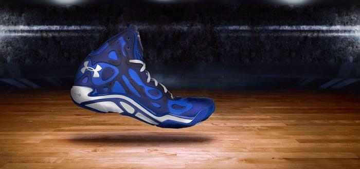 An Under Armour basketball shoe.