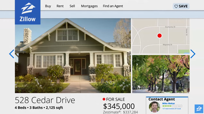 Zillow home page showing a home for sale.
