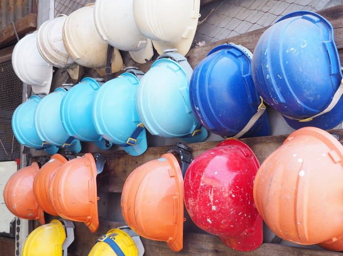 colorful construction helmets.