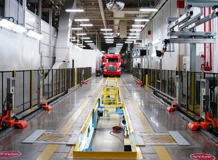 Peterbilt truck in a factory.