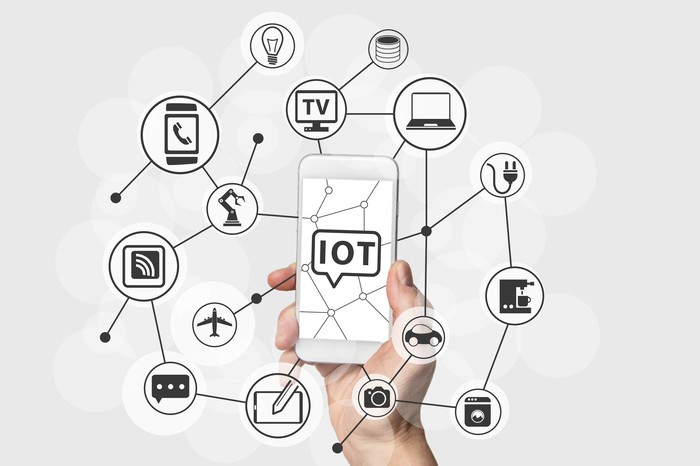 A graph shows the various connections between devices that the Internet of Things will allow.
