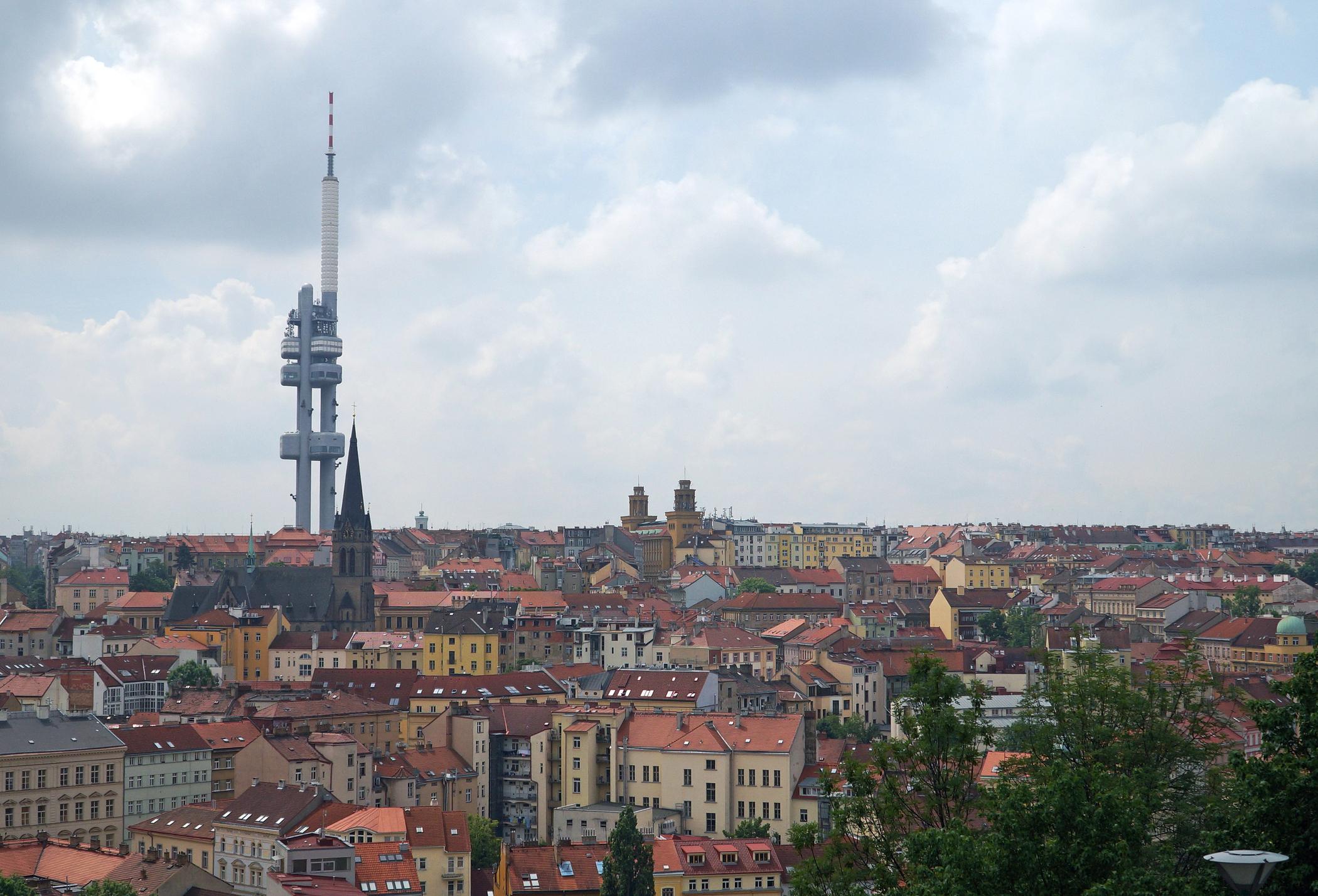Zizkov TV Tower over Prague skyline.