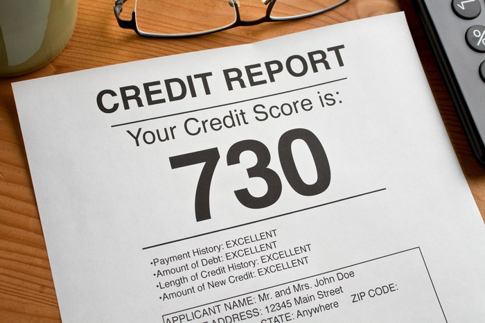 Credit report that shows a credit score of 730