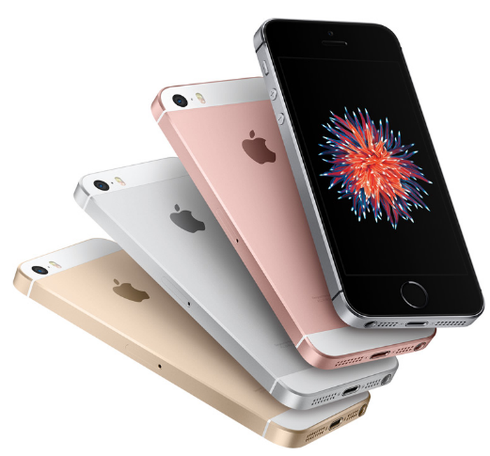 Image of the iPhone SE in different colors.