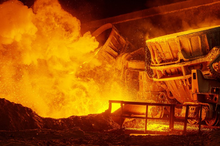 Molten steel being manufactured in a steel mill.