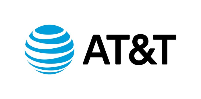 AT&T globe logo with AT&T printed next to it.