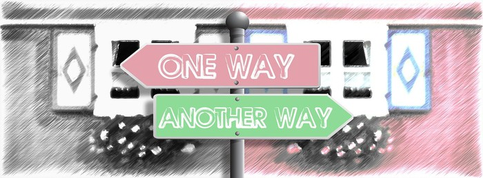 One way street signs.