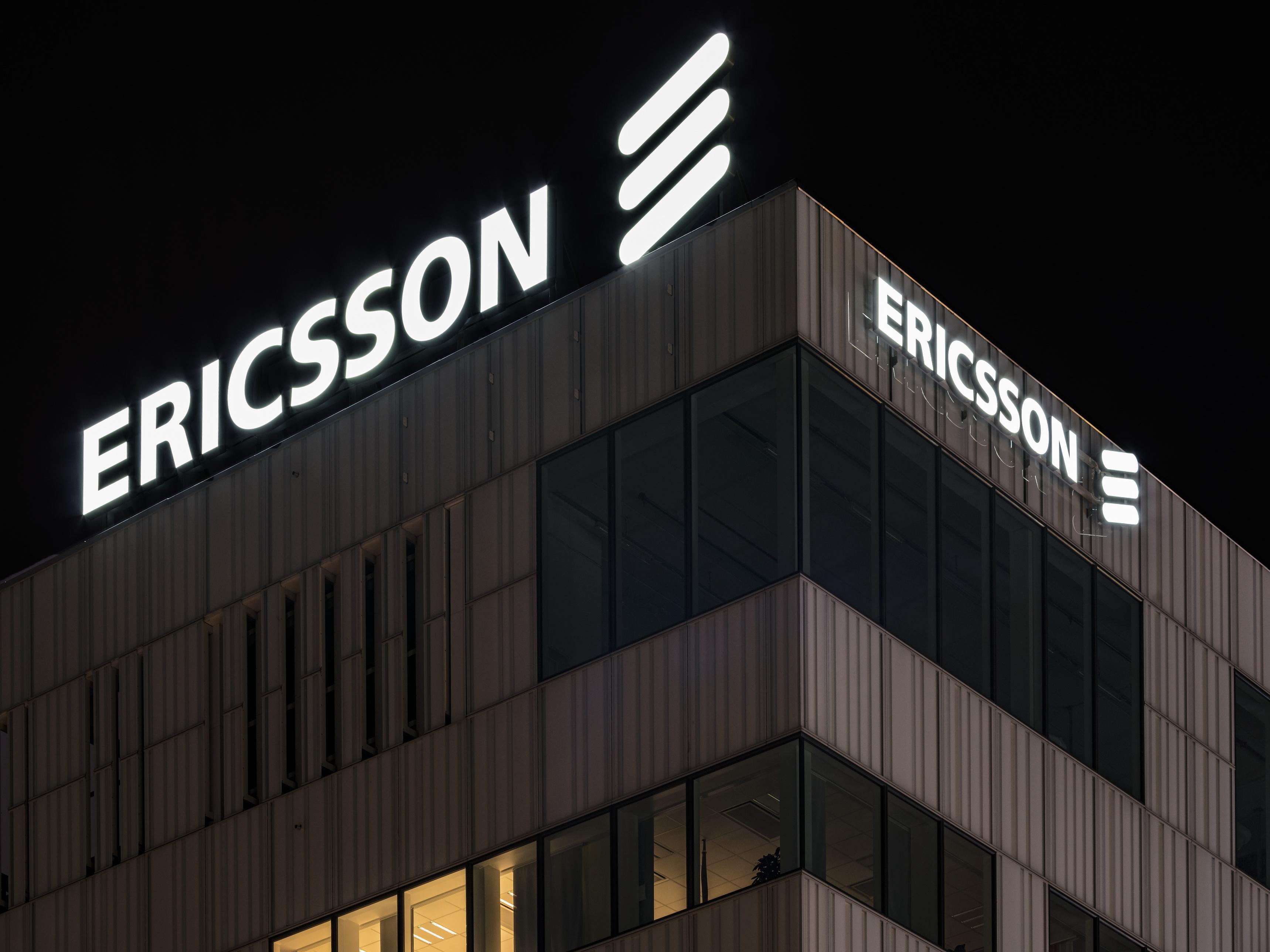 Ericsson logo on HQ building.