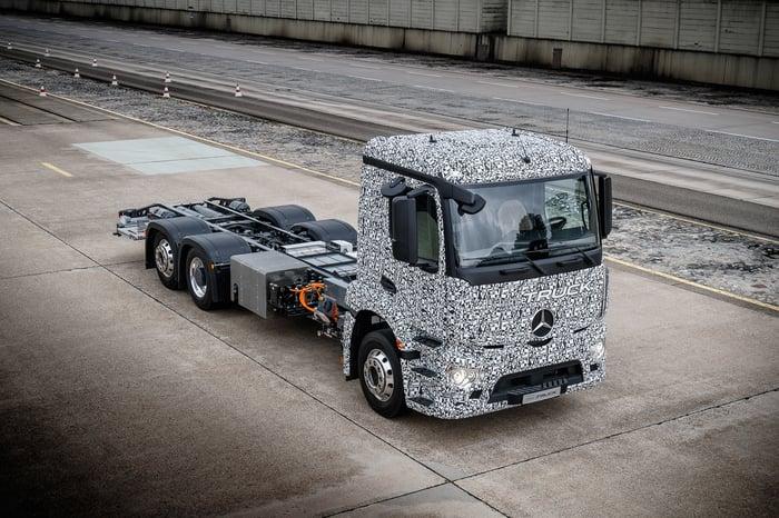 A prototype Daimler electric truck.