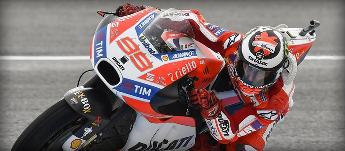 Ducati racing motorcycle, with rider