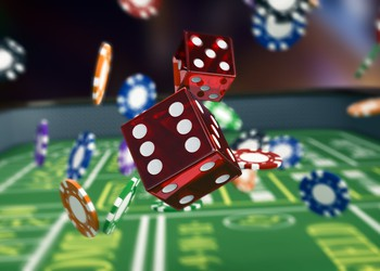 Craps Dice on a Table Game