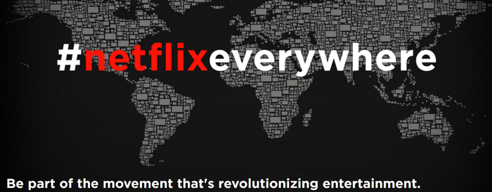 A map showing all the countries where Netflix is available