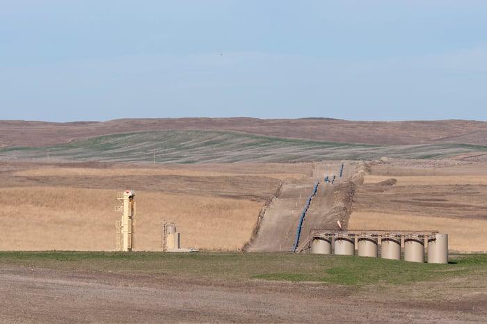 An oil pipeline under construction in North Dakota.
