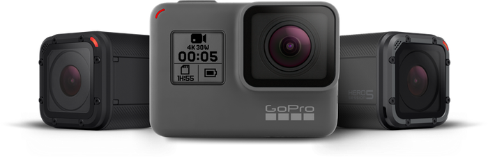 GoPro's HERO5 Session, HERO5 Black, and HERO4 Session cameras.