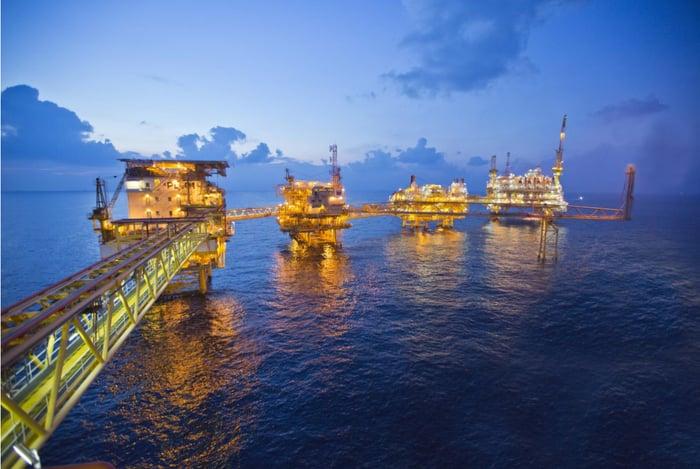Chevron oil platform at night