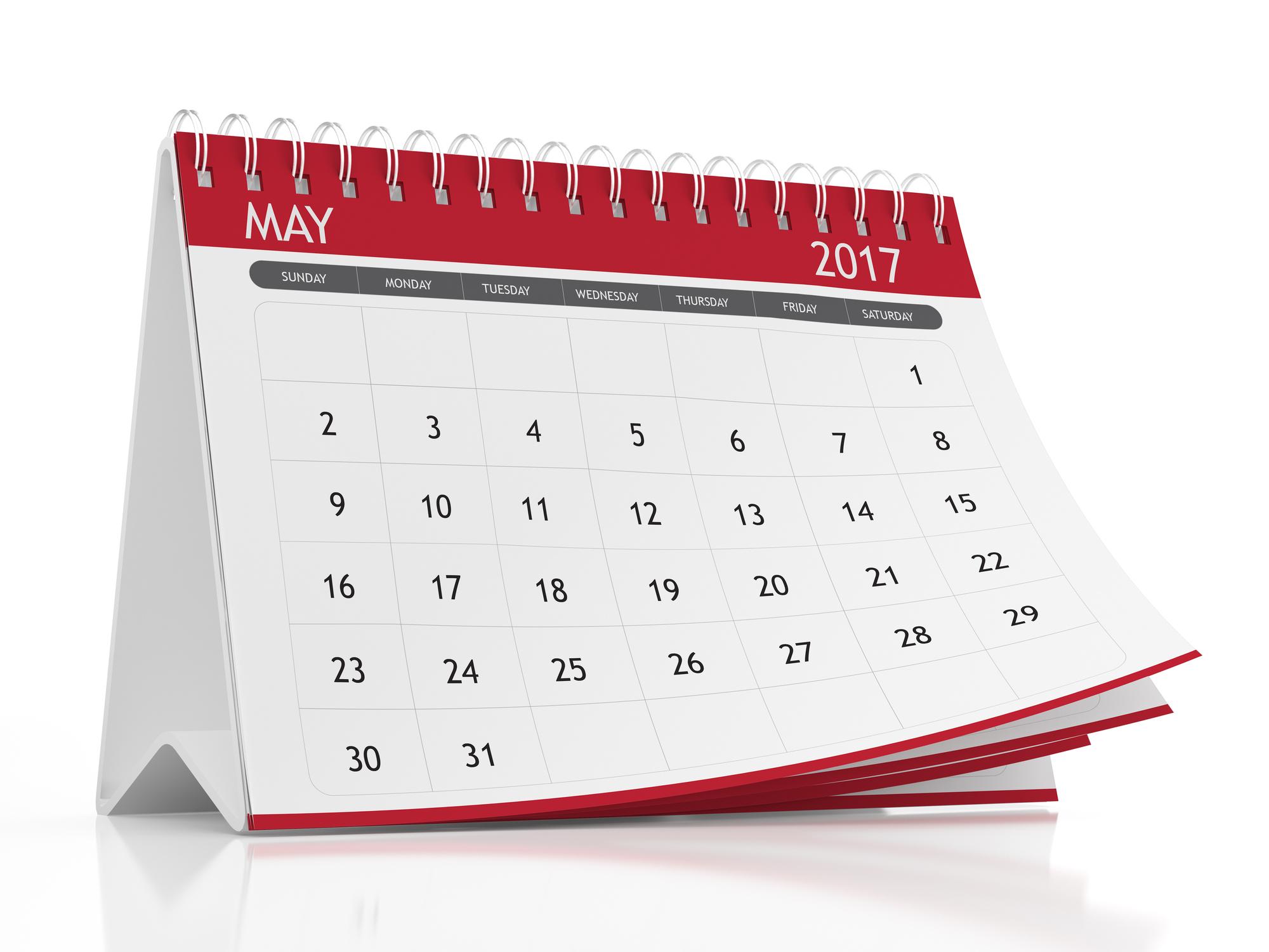 May 2017 desktop calendar