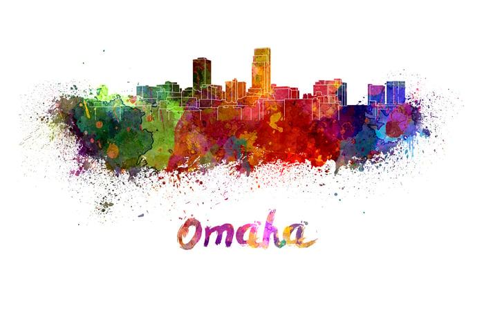 Artistic rendering of  downtown Omaha, Nebraska.