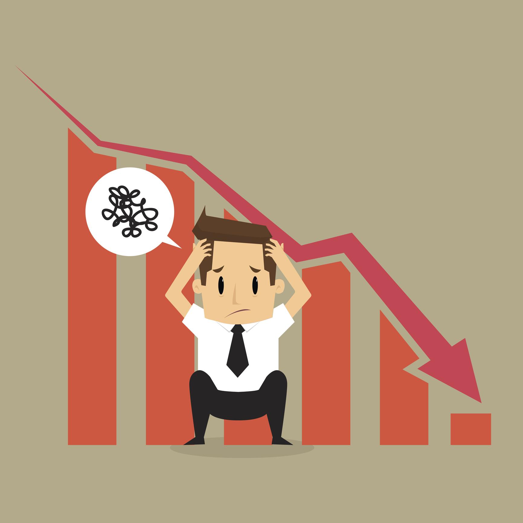 Cartoon of a broker distressed as a graph behind him forms a downward line, signaling a market crash