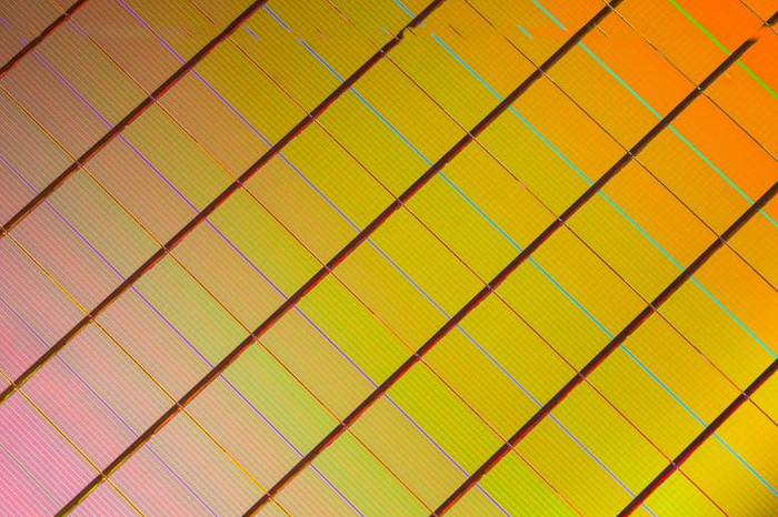 A wafer of Intel 3D XPoint memory chips.