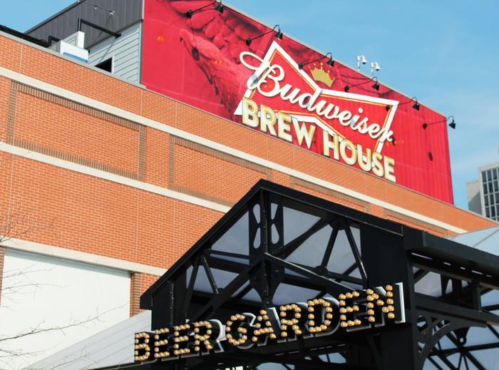 Budweiser brew house and beer garden.