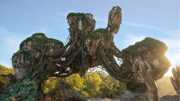 The flying mountain structure at Disney World's Avatar-themed expansion.