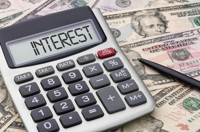 """""""Interest"""" written on a calculator screen."""