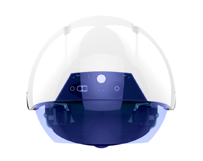 The DAQRI Smart Helmet, which looks like a white hard hat with a visor over the front