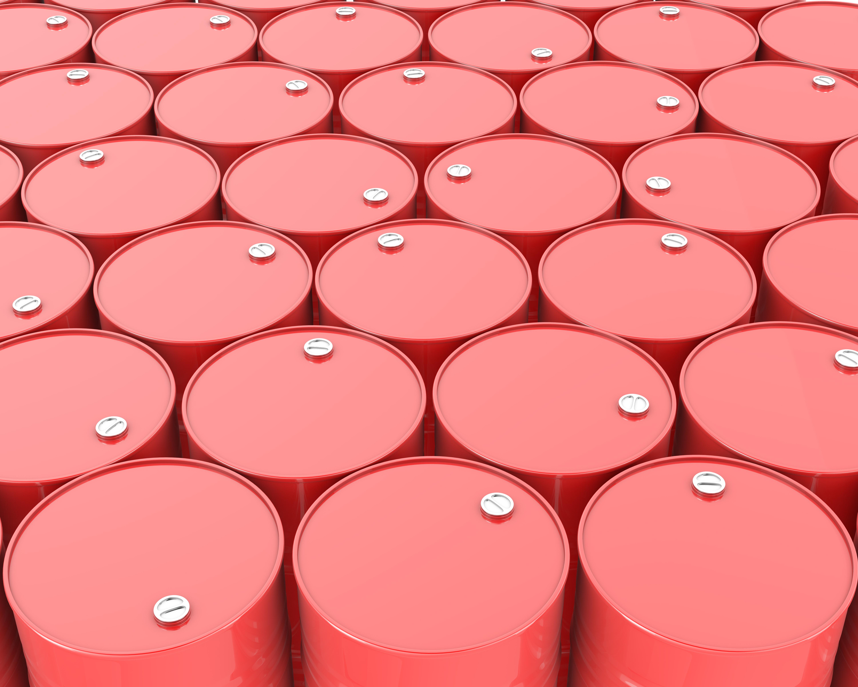Red oil barrels.