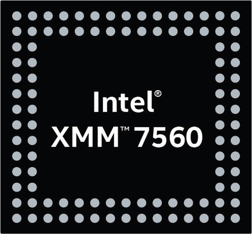 A logo depicting Intel's upcoming XMM 7560 modem.