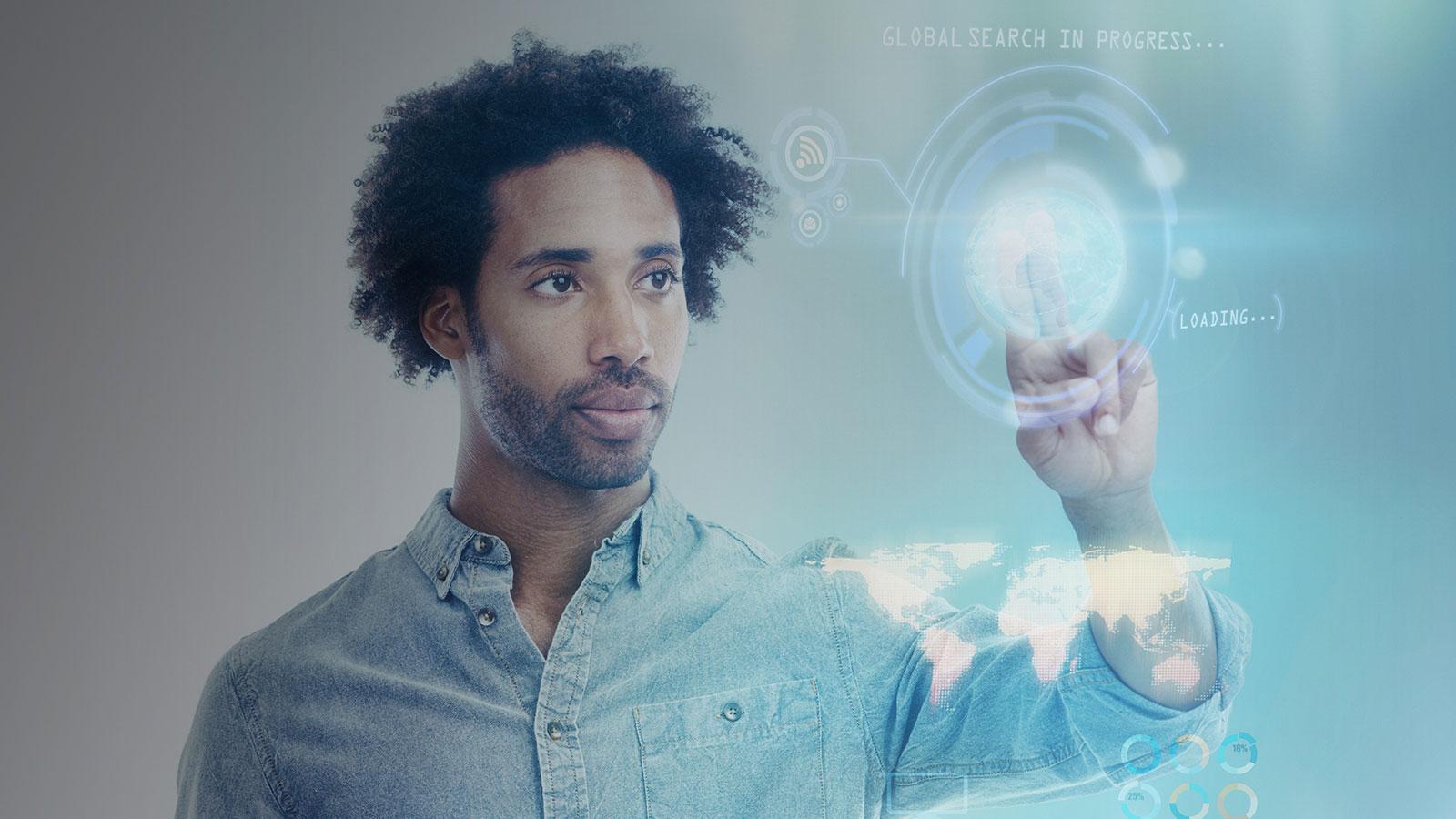 Digital representation of man doing global search