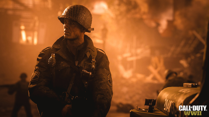 A screenshot from the upcoming Call of Duty: WWII video game showing a solider.
