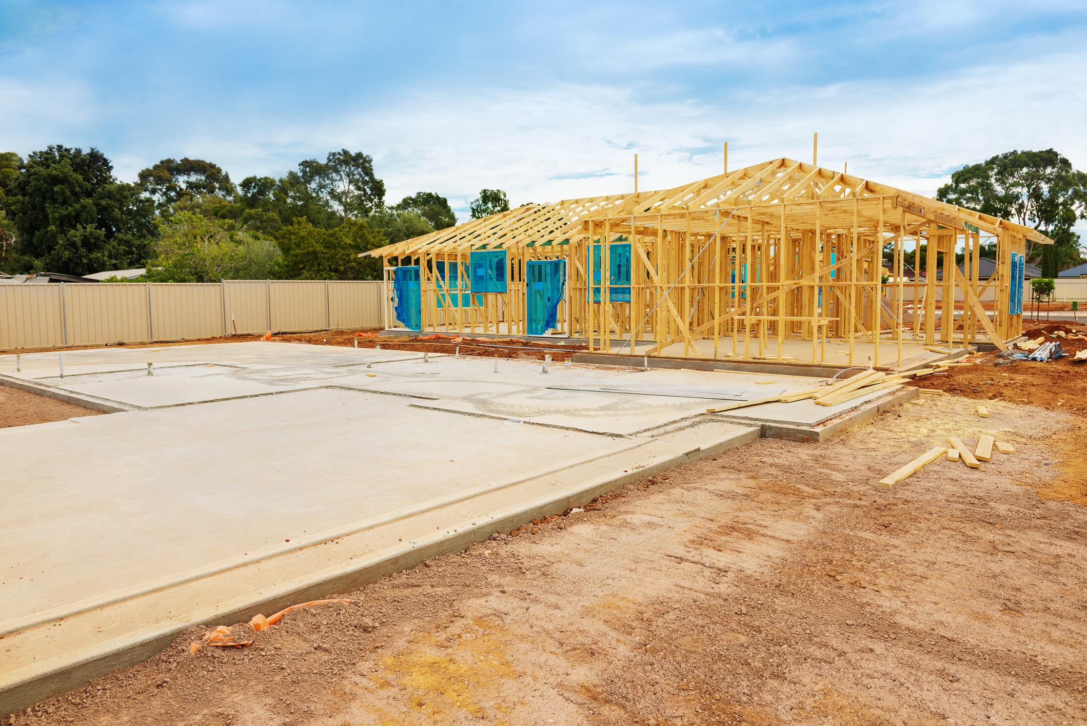 A home construction site