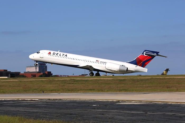 Delta flight taking off.