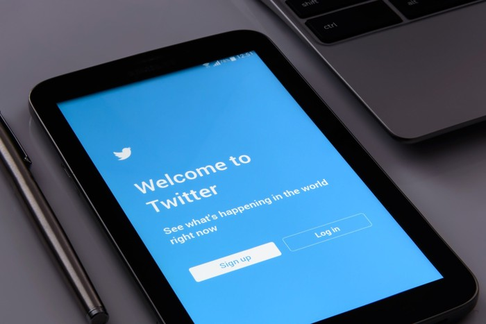 Twitter blue home page on a smartphone.