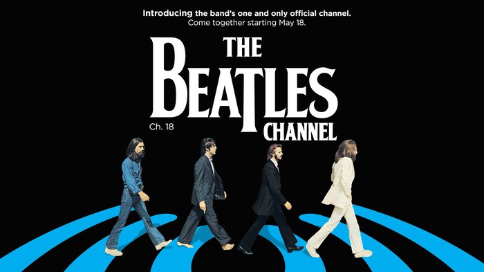 Announcement for The Beatles Channel with Penny Lane artwork.