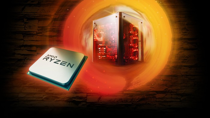 A Ryzen CPU against the backdrop of a powerful gaming PC.