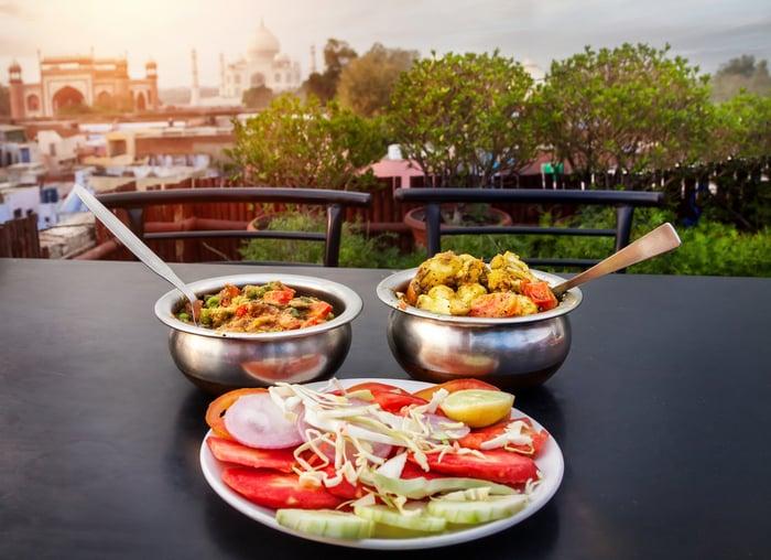 Indian food in front of the Taj Mahal