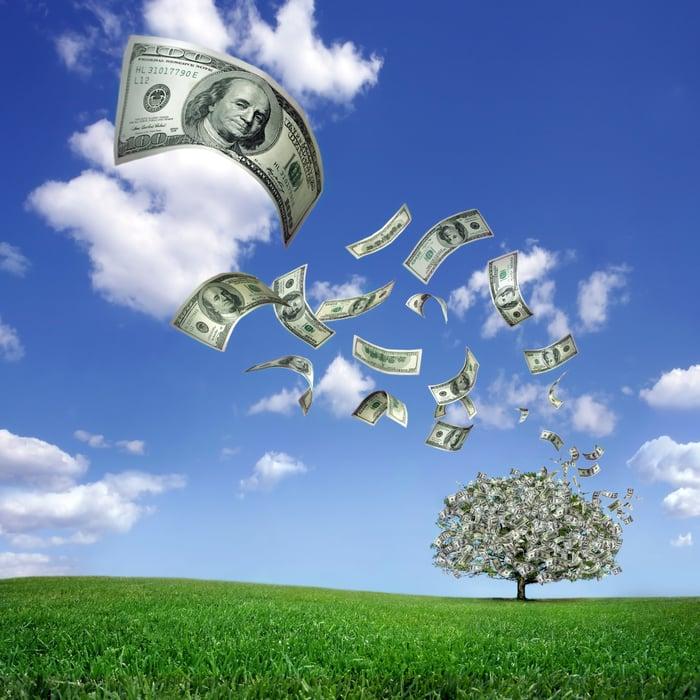 Dollar bills fall from a money tree.