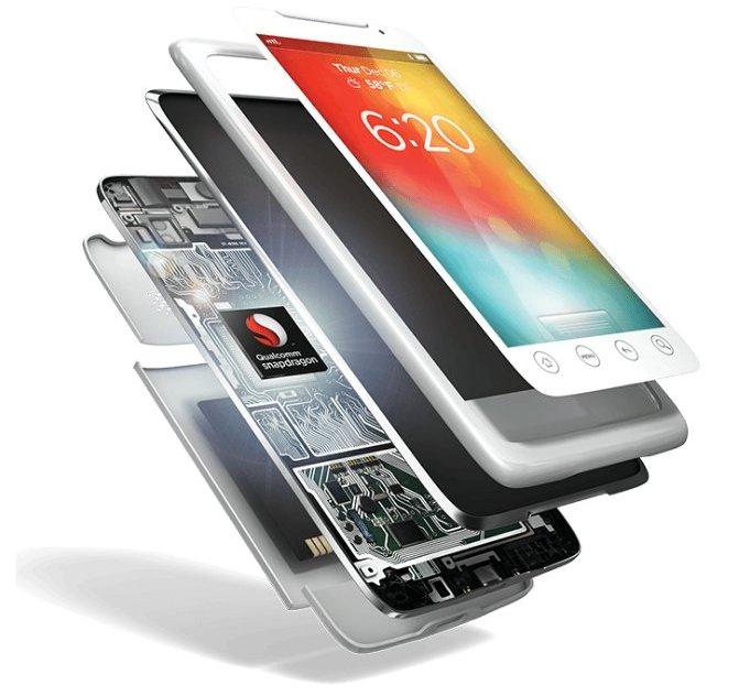 A cutaway of a smartphone revealing a Qualcomm processor inside.
