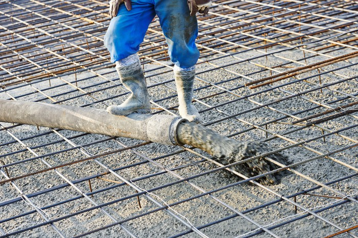 Concrete pouring for modern building.