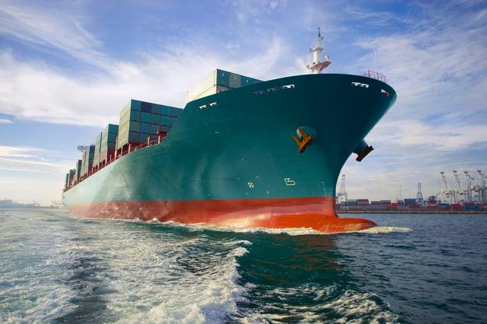 A container ship.