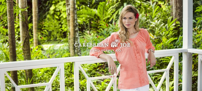A woman in a Caribbean Joe ad