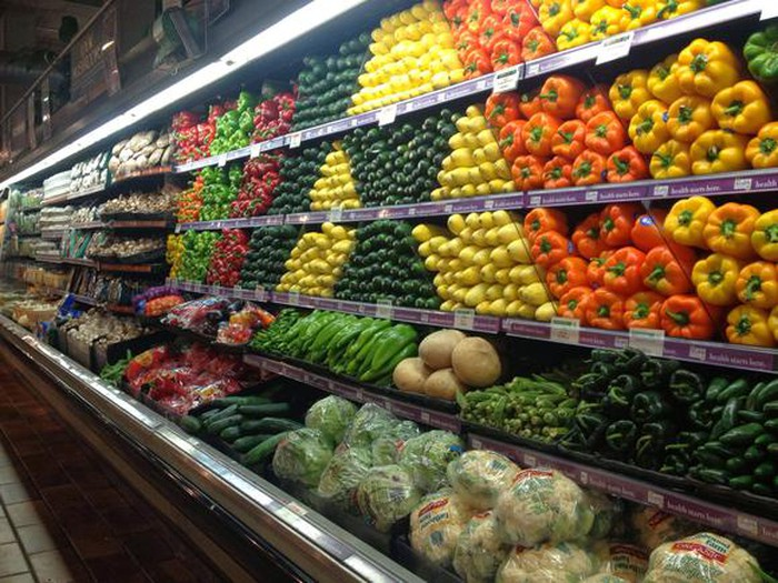 A fresh vegetable display at a Whole Foods store.